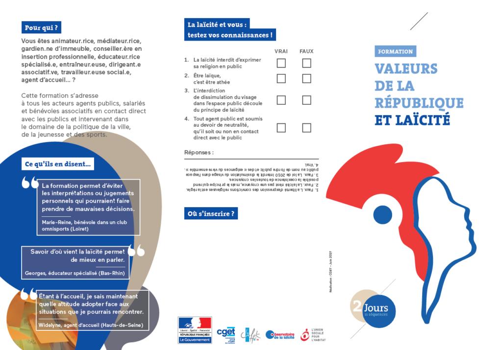 Formation Laïcité et Valeurs de la République - Flyer 1
