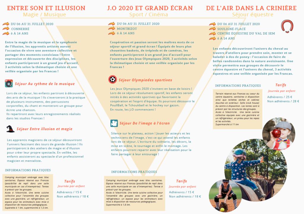 Francas 72 - Bases d'été 2020 - Flyer 2