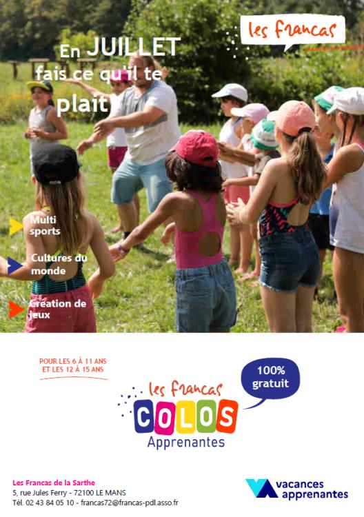 Francas 72 - Vacances été 2021 - Colos Apprenantes - Plaquette